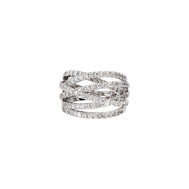 Signature Collection 18k White Gold Criss Cross Diamond Ring
