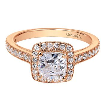 14k Rose Gold Cushion Halo Engagement Ring by Gabriel NY