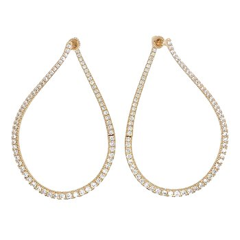 14K Yellow Gold 45MM Diamond Fashion Hoop Earrings by Gabriel NY