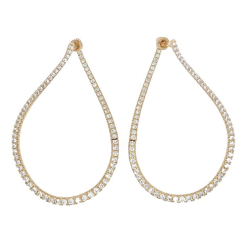 Signature Collection 14K Yellow Gold 45MM Diamond Fashion Hoop Earrings by Gabriel NY