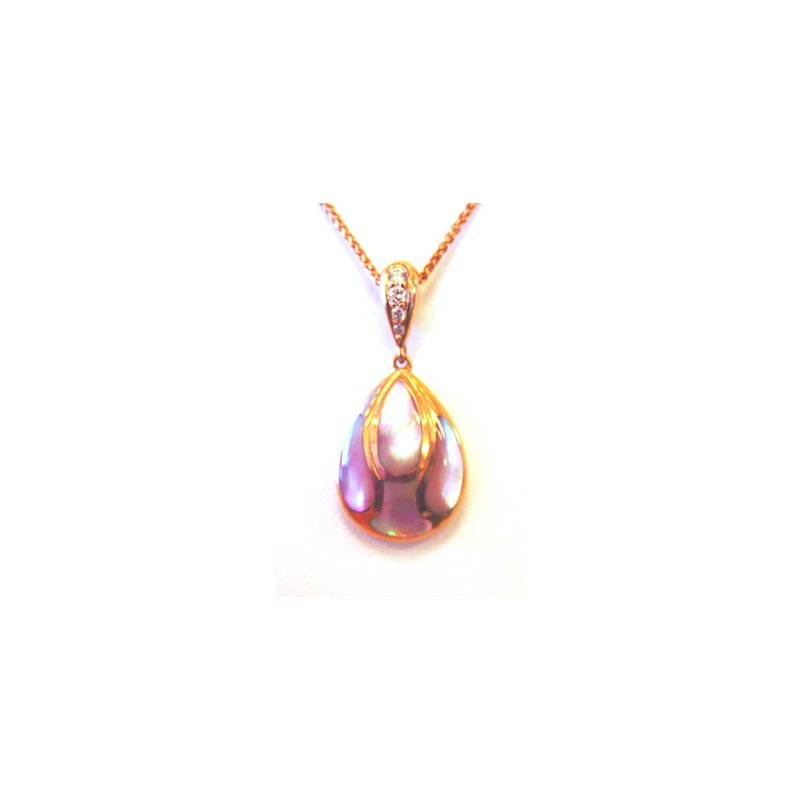 Kabana Jewelry 14k Rose Gold Pendant with Pink Mother of Pearl Inlay and Diamonds