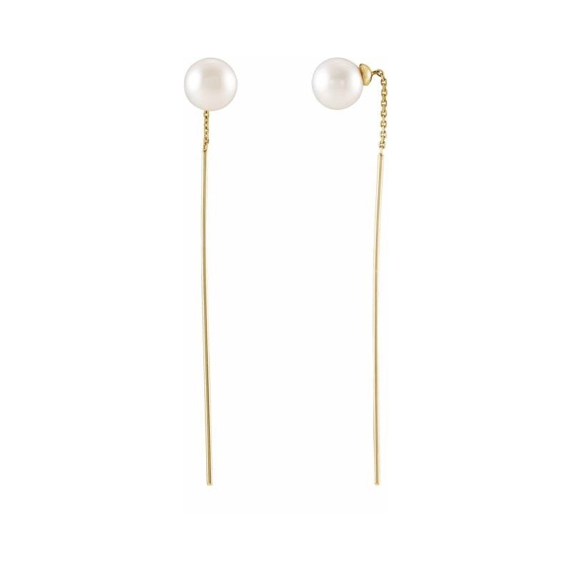 Signature Collection 14k Yellow Gold Freshwater Pearl Threader Earrings