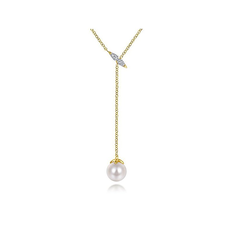 Signature Collection 14k Yellow Gold Lariat Style Pearl and Diamond Necklace by Gabriel NY - Style #NK5963Y