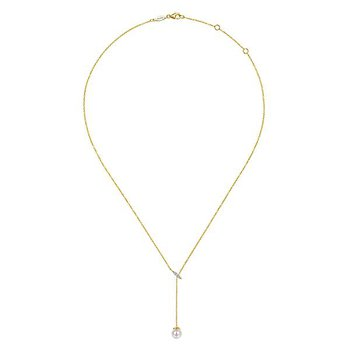 14k Yellow Gold Lariat Style Pearl and Diamond Necklace by Gabriel NY - Style #NK5963Y