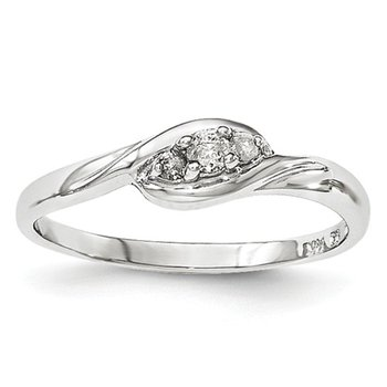 From the Promise Ring Collection 14k White Gold Swirl 3-Stone Diamond Ring