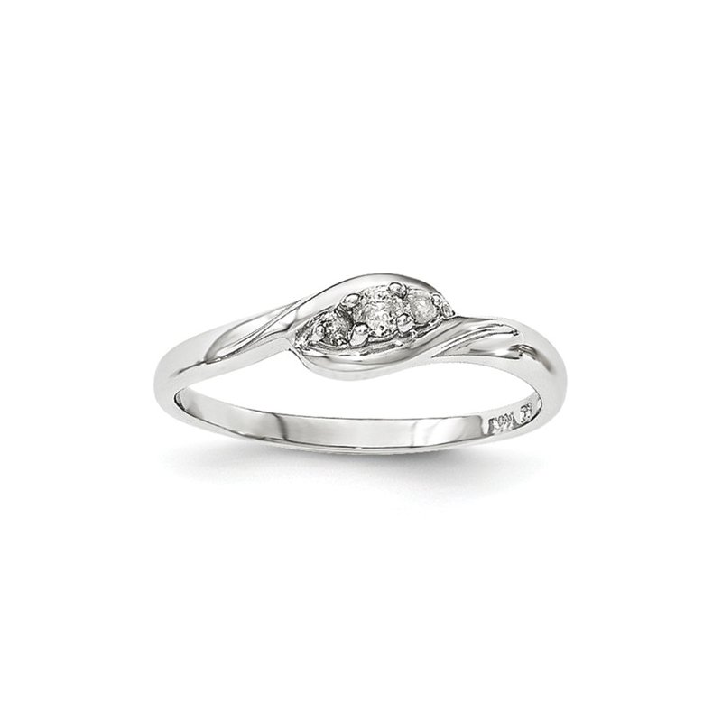 Signature Collection From the Promise Ring Collection 14k White Gold Swirl 3-Stone Diamond Ring