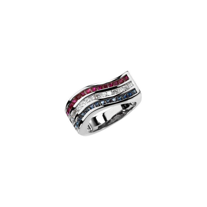 Signature Collection Genuine Multi Gem-stone & Diamond Ring