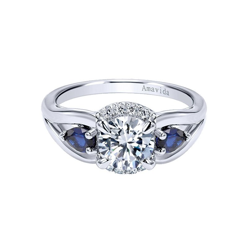 Gabriel NY Platinum Sapphire and Diamond Partial Halo Engagement Ring from the Amavida Collection by Gabriel NY