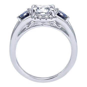 Platinum Sapphire and Diamond Partial Halo Engagement Ring from the Amavida Collection by Gabriel NY