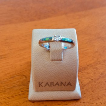 Kabana 14k White Gold Australian Opal and Diamond Ring - #34979