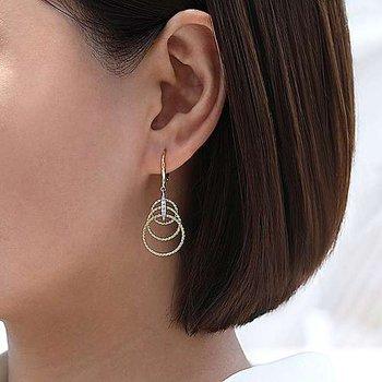 14k Yellow Gold Triple Loop Dangle Diamond Earrings by Gabriel NY