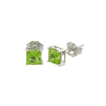 Genuine Peridot Earrings in 14k White Gold