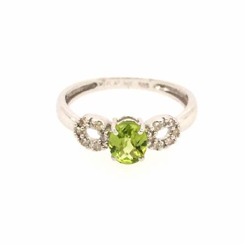 Genuine Oval Peridot and Diamond Ring in 14k White Gold