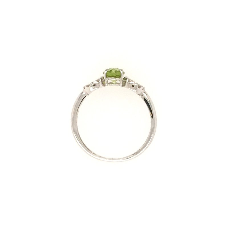Signature Collection Genuine Oval Peridot and Diamond Ring in 14k White Gold
