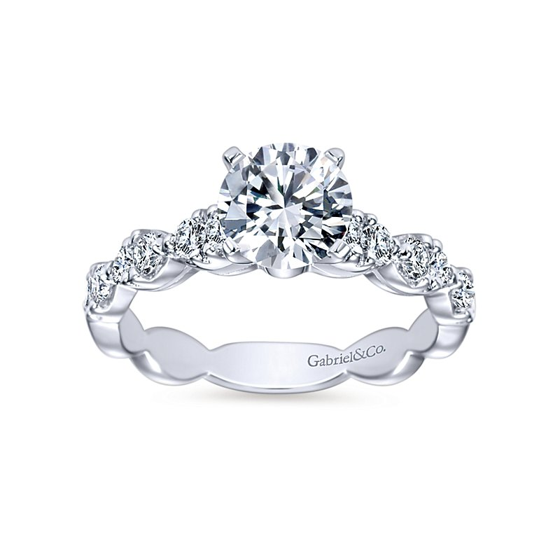 Gabriel NY Rowan 14k White Gold Braided Style Engagement Ring by Gabriel & Co. NY