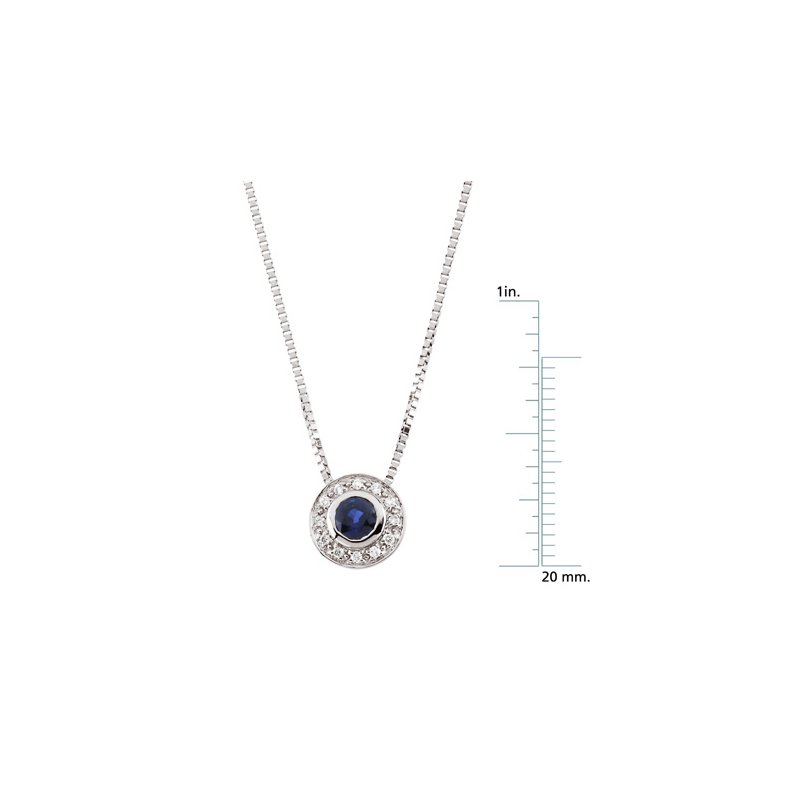 Signature Collection Genuine Sapphire & Diamond Necklace - EL424134