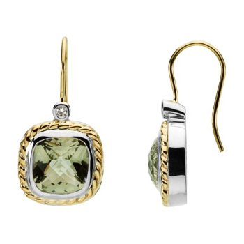 Genuine Checkerboard Green Quartz &  Diamond Earrings