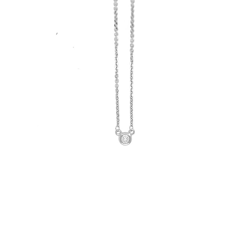 Signature Collection 14k White Gold Solitaire Bezel Set Diamond Necklace