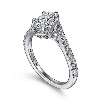 14k White Gold Oval Bypass Engagement Ring by Gabriel NY