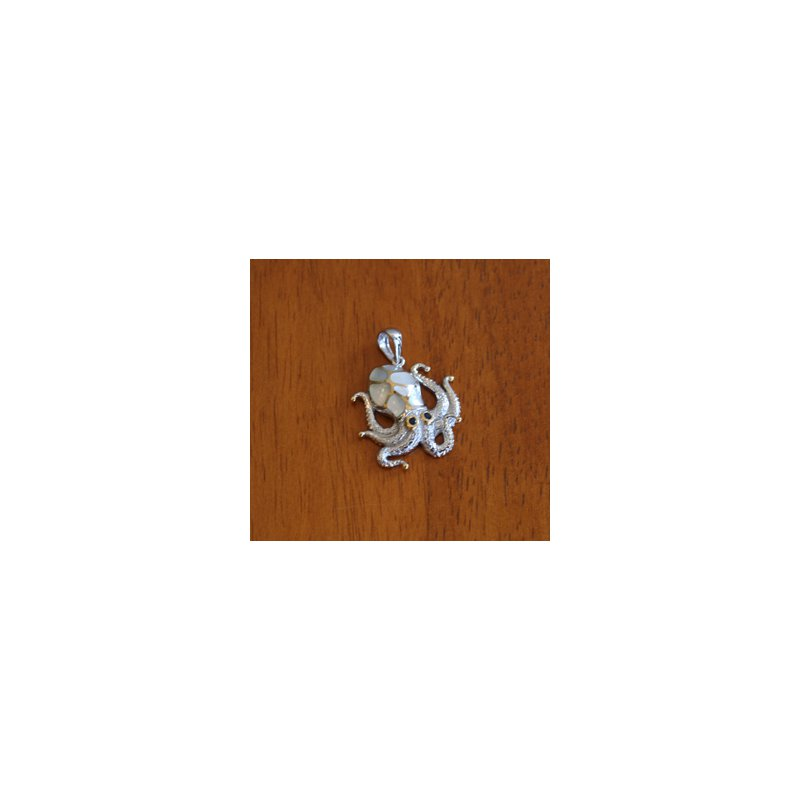 Kovel Sealife Sterling Silver and 18k Gold Plate Octopus Pendant with White Mother of Pearl Inlay