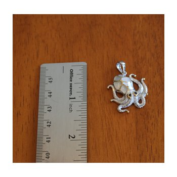 Sterling Silver and 18k Gold Plate Octopus Pendant with White Mother of Pearl Inlay
