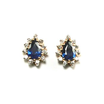 Genuine Blue Sapphire & Diamond Earrings - 11553
