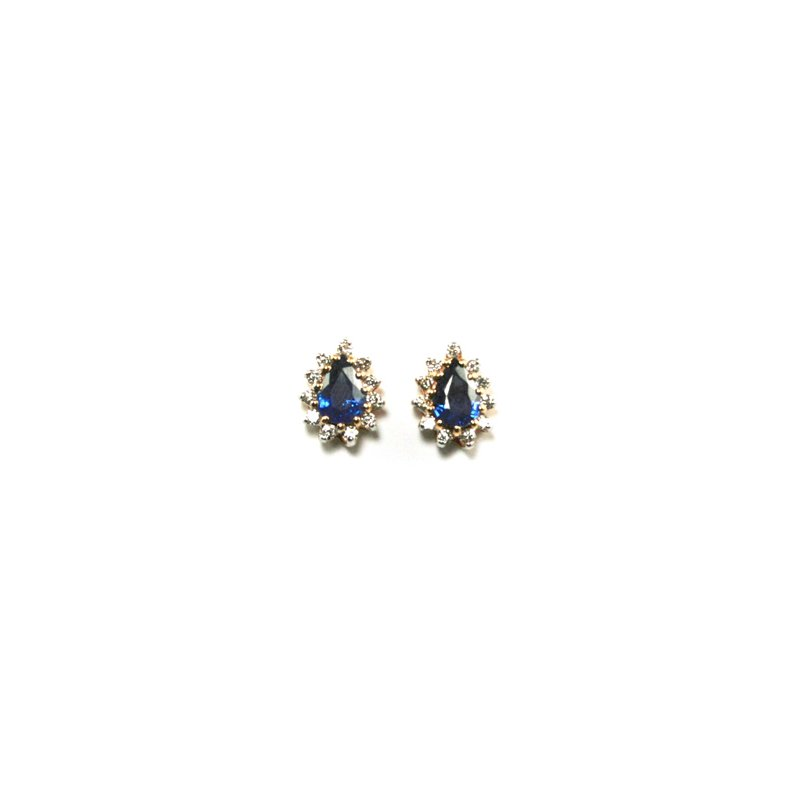 Signature Collection Genuine Blue Sapphire & Diamond Earrings - 11553