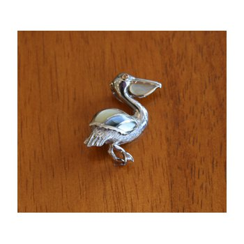 Sterling Silver and 18k Gold Plate Pelican Pendant with Multi-color Mother of Pearl Inlay