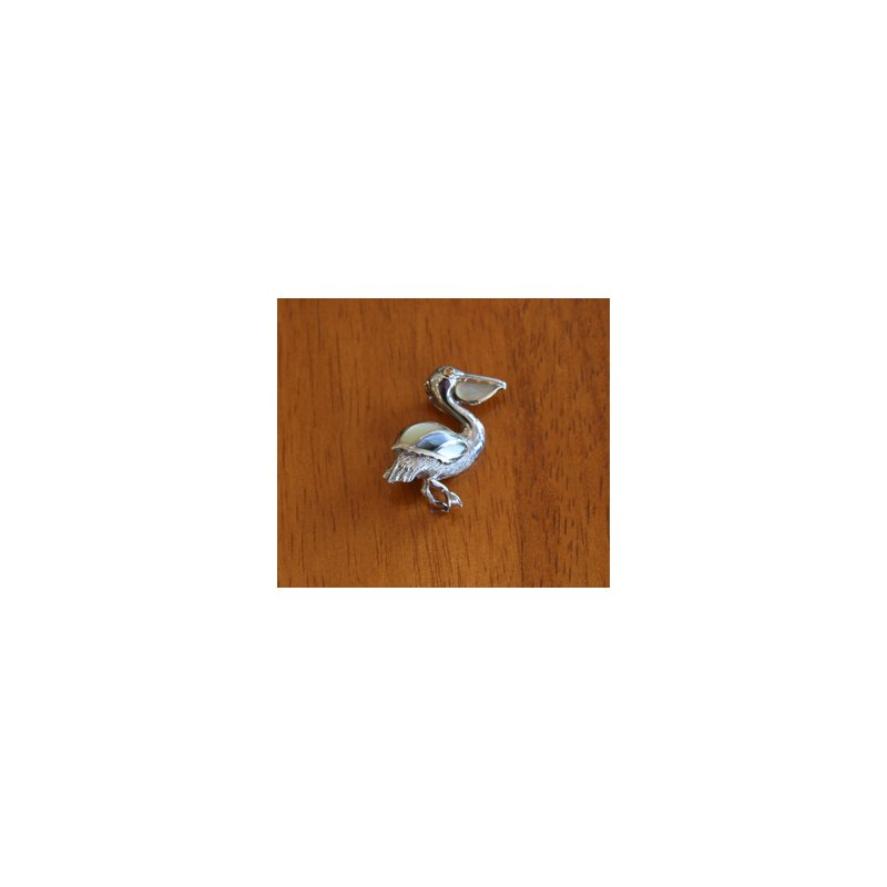Kovel Sealife Sterling Silver and 18k Gold Plate Pelican Pendant with Multi-color Mother of Pearl Inlay