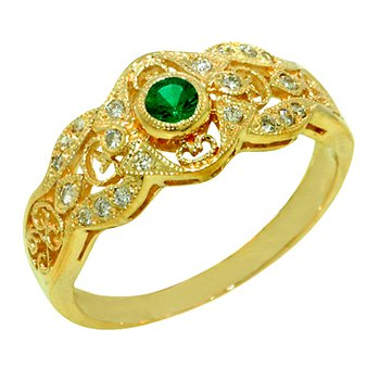 .27ct Vintage Filigree Genuine Emerald & Diamond Ring in 14k Yellow Gold - 1445E