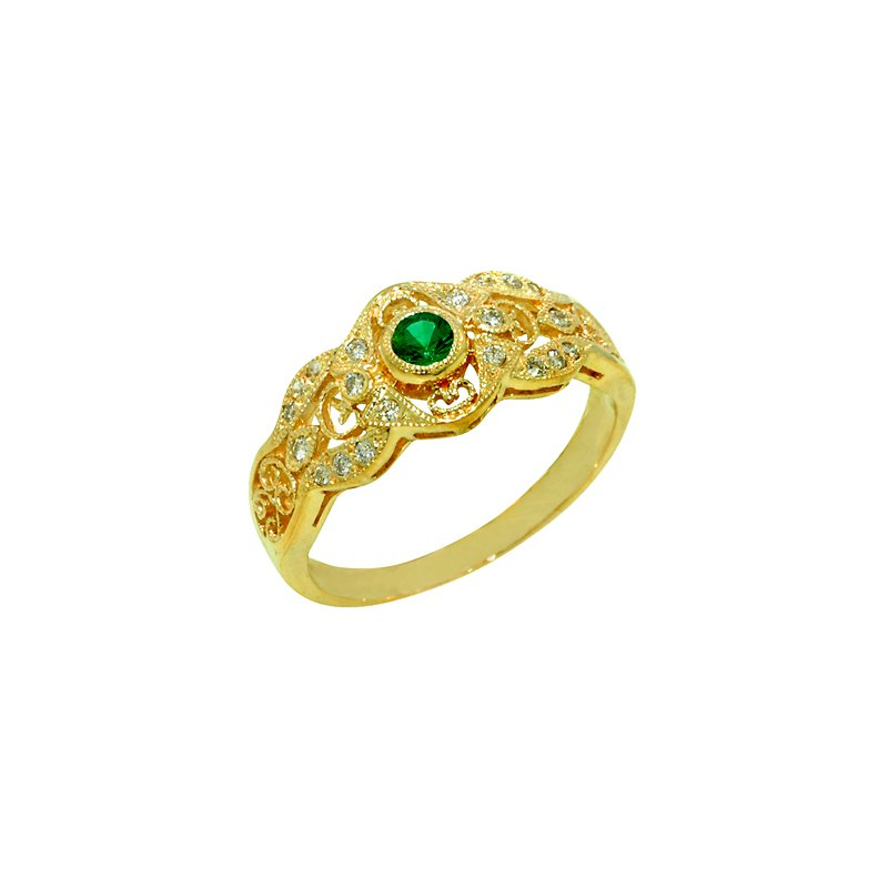 Signature Collection .27ct Vintage Filigree Genuine Emerald & Diamond Ring in 14k Yellow Gold - 1445E