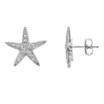 14k White Gold Diamond Starfish Earrings