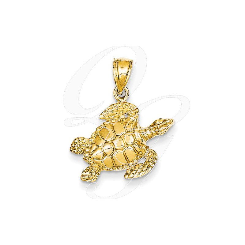 Sealife Jewelry Quality Collection 14k Yellow Gold Turtle Pendant