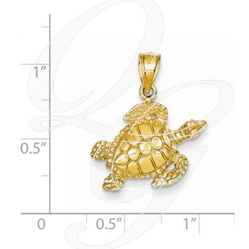 Quality Collection 14k Yellow Gold Turtle Pendant