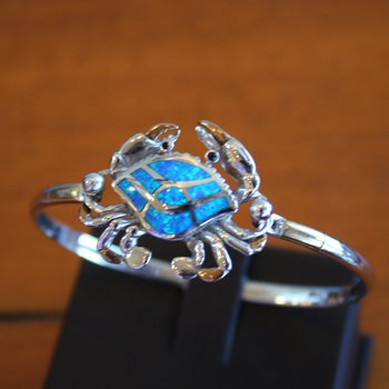 Sterling Silver and 18k Gold Plate Bangle Crab Bracelet Topper with Kyocera Lab Created Opal