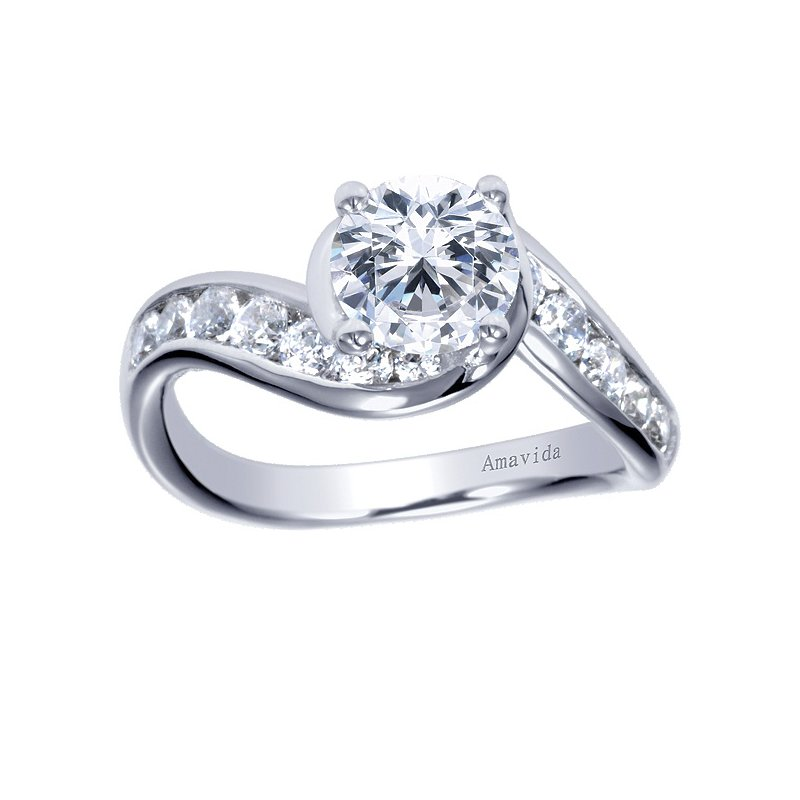 Gabriel NY Platinum Bypass Diamond Engagement Ring from the Amavida Collection by Gabriel NY