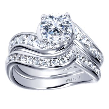 Platinum Bypass Diamond Engagement Ring from the Amavida Collection by Gabriel NY