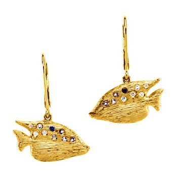 Genuine Multi Gem-stone & Diamond Sunfish Earrings