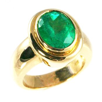 18k Yellow Gold Bezel Set Oval Genuine Colombian Emerald Ring - #23927