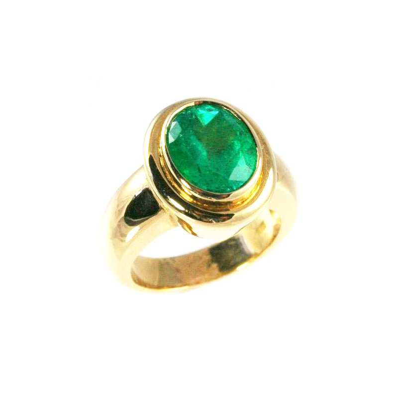 Signature Collection 18k Yellow Gold Bezel Set Oval Genuine Colombian Emerald Ring - #23927