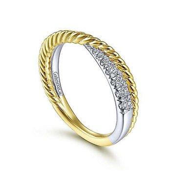 14k Yellow & White Gold Criss Cross Diamond Ring by Gabriel NY