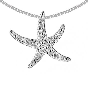 14k White Gold Small Diamond Starfish Pendant