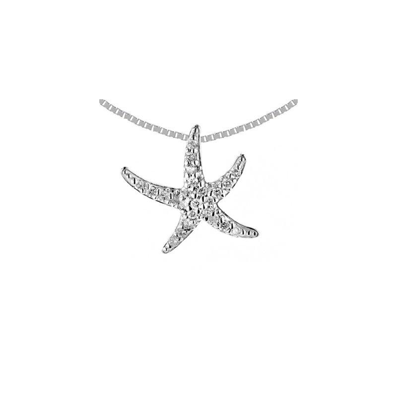 Sealife Jewelry 14k White Gold Small Diamond Starfish Pendant