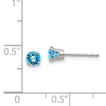 14k White Gold 4mm Blue Topaz Stud Earrings