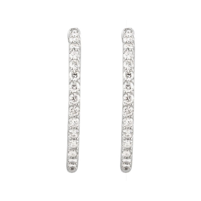 Signature Collection 14k White Gold Inside Out Diamond Hoop Earrings - #E2CTW