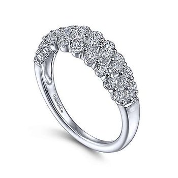 14k White Gold Multi Row Diamond Ring by Gabriel NY