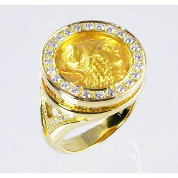 18k Yellow Gold Ring - Ancient Greek Gold Stater - Head of Athena