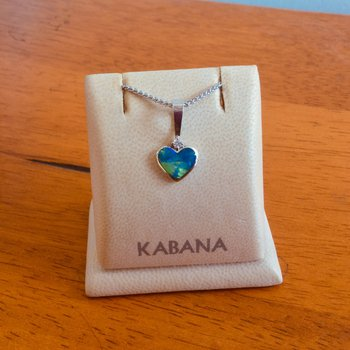 14k White Gold Australian Opal Heart and Diamond Pendant by Kabana