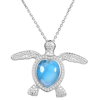 Larimar Sea Turtle in Sterling Silver with Cubic Zirconia