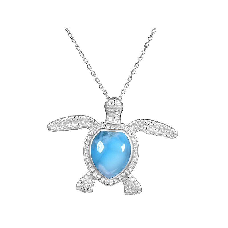 Sealife Jewelry Larimar Sea Turtle in Sterling Silver with Cubic Zirconia
